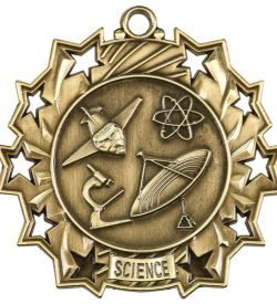 2 1/4 inch Science Ten Star Medal