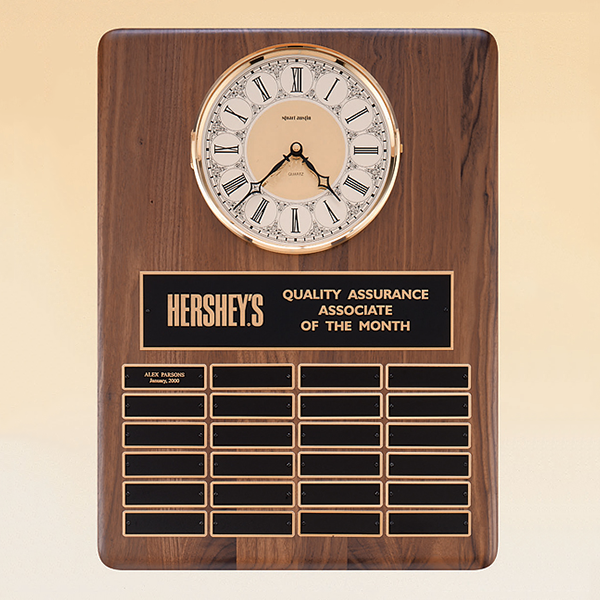 American Walnut Vertical Wall Clock / Perpetual Plaque