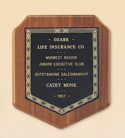 American Walnut Shield Plaque with a Black Brass Plate.