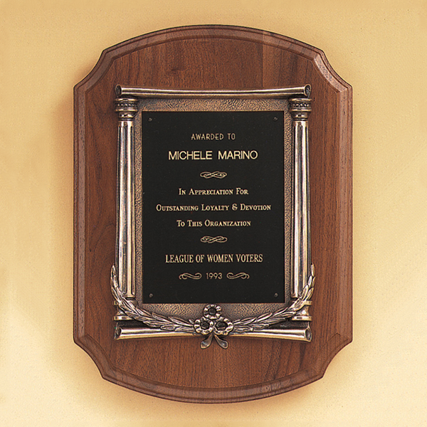 American Walnut Plaque with an Antique Bronze Casting