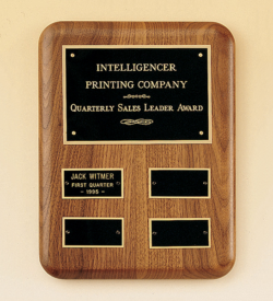 Solid American Walnut Quarterly Award Plaque