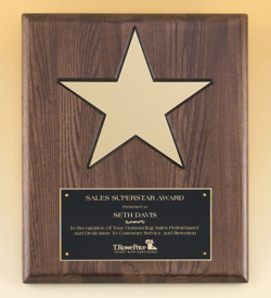 "Walnut Stained Piano Finish Plaque with 8"" Gold Star"