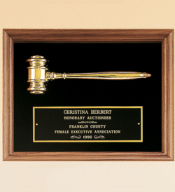 American Walnut Frame Gavel Plaque
