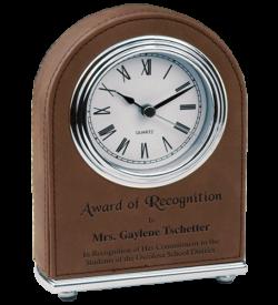 Dark Brown Laserable Leatherette Arch Desk Clock