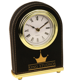Black Laserable Leatherette Arch Desk Clock