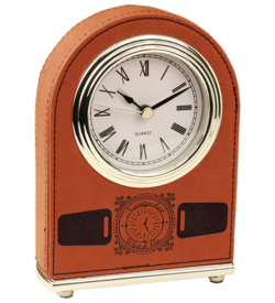 Rawhide Laserable Leatherette Arch Desk Clock