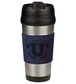 Blue Laserable Leatherette Stainless Steel Travel Mug