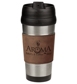 Dark Brown Laserable Leatherette Stainless Steel Travel Mug