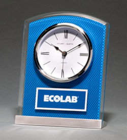 Glass Clock with Blue Carbon Fiber Design on Aluminum Base Silver bezel, white dial, three-hand movement