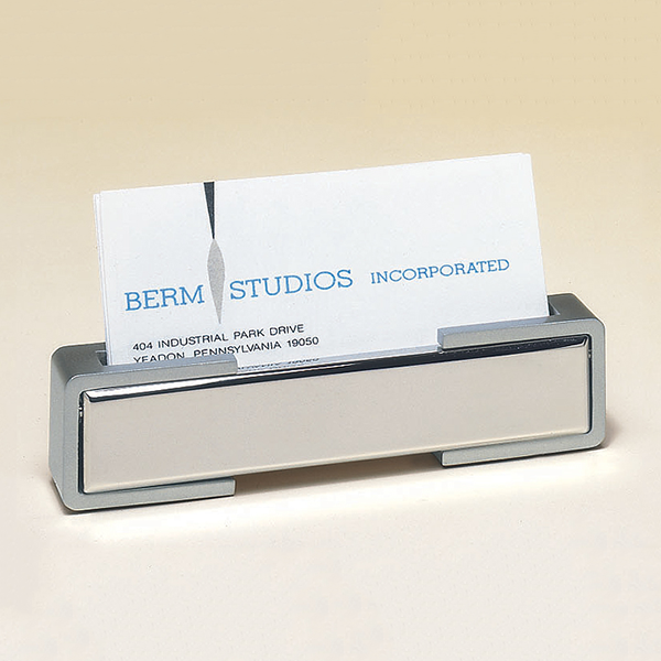 Polished silver business card holder with matte silver accents