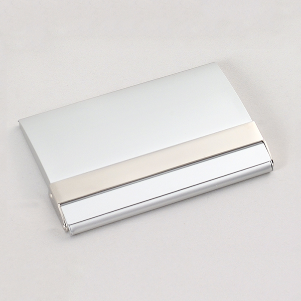 Matte Silver business card case with polished silver accent